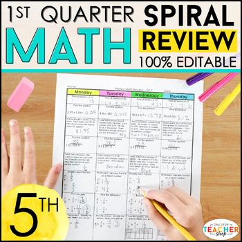 5th Grade Math Review | Homework or Morning Work | 1st Quarter