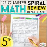 5th Grade Math Spiral Review & Quizzes | 5th Grade Math Homework | 1st QUARTER