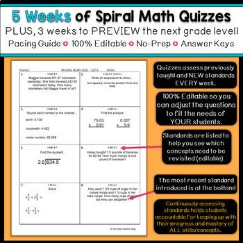 5th Grade Math Spiral Review | 5th Grade Math Homework 5th Grade Morning Work