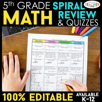 5th Grade Math Spiral Review - 5th Grade Math Homework or 5th Grade Morning Work