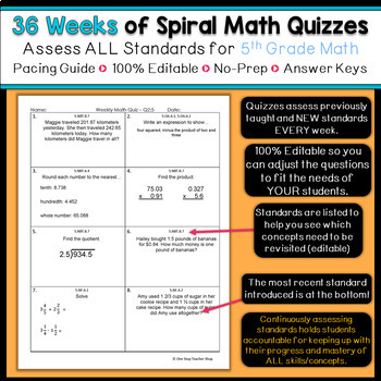 5th Grade Math Spiral Review & Quizzes | 5th Grade Math Homework | ENTIRE YEAR