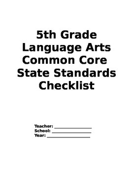 Fifth Grade Language Arts Common Core Checklist