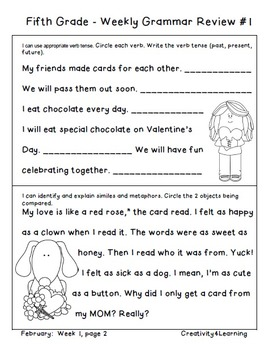 Fifth Grade Common Core Daily Grammar Review - February Edition