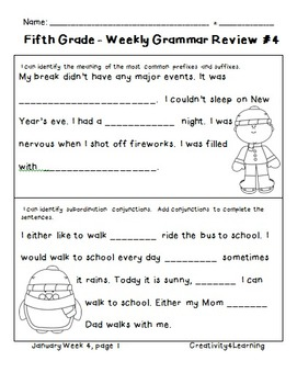 Fifth Grade Common Core Daily Grammar Review - January Edition