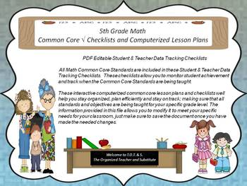 5th Grade Common Core Drop Down Lesson Plans and Checklists for Math