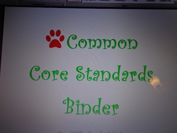 Fifth Grade Common Core ELA Standards Binder Organization