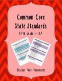 Fifth Grade Common Core ELA Teacher Documents