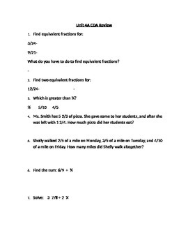 Fifth Grade Common Core- Fractions Review