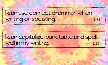 """Fifth Grade Common Core LANGUAGE, SPEAKING, LISTENING """"I Can"""" Statements Posters"""