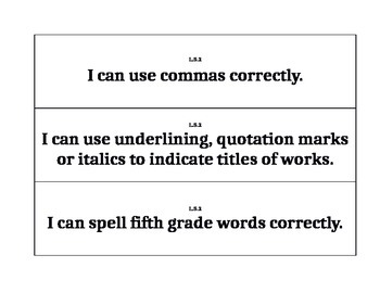 Fifth Grade Common Core Language I Can Signs