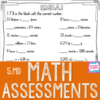 Math Assessments - Fifth Grade Measurement