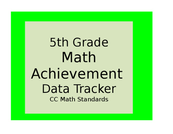 Fifth Grade Common Core Math Achievement Data Tracker