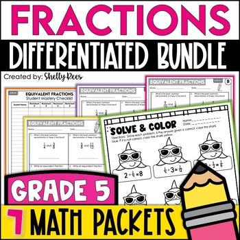5th Grade Math Test Prep Review Fractions Bundle