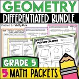 5th Grade Math Test Prep Review Geometry Bundle
