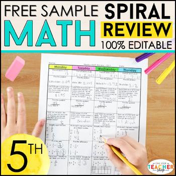 5th Grade Math Homework or 5th Grade Morning Work FREE