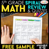 5th Grade Math Spiral Review & Quizzes | 5th Grade Math Homework | FREE