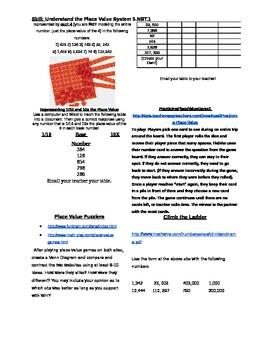 Fifth Grade Common Core Math Menus