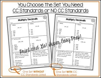 Numbers and Operations and Algebraic Thinking Worksheets BUNDLE