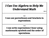 Fifth Grade Common Core Math Pocket Chart Signs