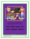 Fifth Grade Common Core Math Standards Checklist