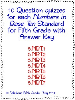 Fifth Grade Common Core Numbers in Base Ten/Place Value Standards Quizzes