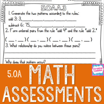Math Assessments - Fifth Grade Algebra