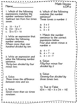 Fifth Grade Common Core Operations & Algebraic Thinking Quizzes