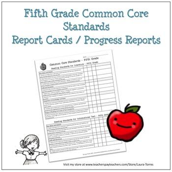 Fifth Grade Common Core Progress Report By Laura Torres Tpt
