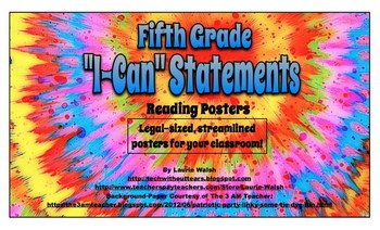 """Fifth Grade Common Core READING """"I Can"""" Statements Legal-sized Posters"""