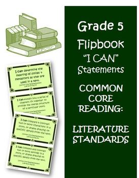 Fifth Grade Literature I Can Statement Cards