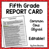 Fifth Grade Progress Report: Aligned with Common Core {Fully Editable}