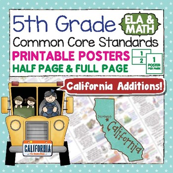 Common Core Standards I Can Statements for 5th Grade - California