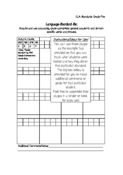 Fifth Grade Common Core Standards Checklist Preview