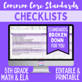 Common Core Checklist - Fifth Grade ELA & Math Bundle