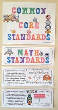 """Fifth Grade Common Core Standards """"I Can Statements"""" - MATH ONLY"""