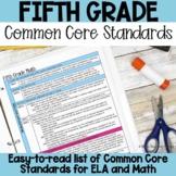 Fifth Grade Common Core Standards List