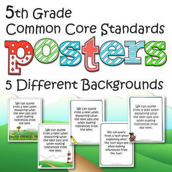Fifth Grade Common Core Standards Posters By The