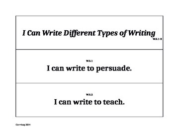 Fifth Grade Common Core Writing Pocket Chart Signs