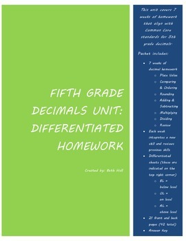 Decimals Homework