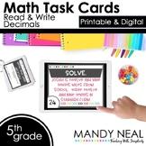 Fifth Grade Digital Math Task Cards ~ Read and Write Decimals