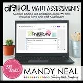 Fifth Grade Digital Self-Grading Fraction Math Assessments