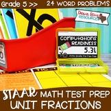 Fifth Grade Divide Unit Fractions Math Test Prep Review Game | 5th Grade TEKS