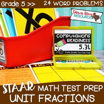 Fifth Grade Divide Unit Fractions Math Test Prep Review Game | 5th Grade TEKS