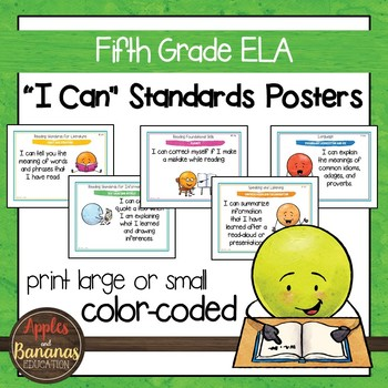 "Fifth Grade ELA Common Core ""I Can"" Posters and Statement Cards"