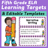Fifth Grade ELA Common Core I Can Statements and Editable