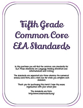 Fifth Grade ELA Standards