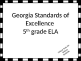 Fifth Grade ELA Standards for GSE Posters with Black and W