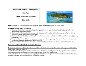 Fifth Grade ELA Unit Plan using Island of the Blue Dolphins by Scott O'Dell