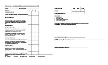 Fifth Grade ESL Progress Report Card