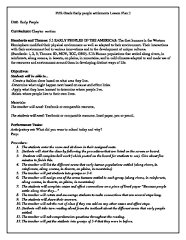 Fifth Grade Early people settlements Lesson Plan 2